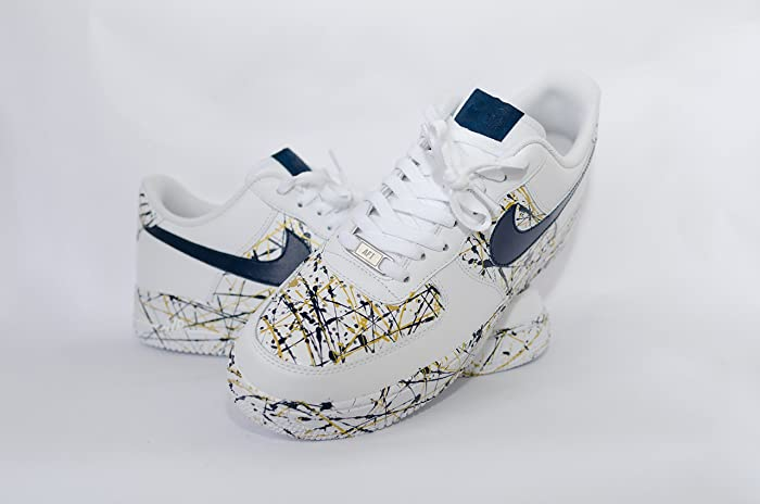 5bc44e55430 ... unboxing youtube dc85d 4c5a3  discount nike air force 1 af1 custom gold  and navy splatter edition df0e5 47a9a