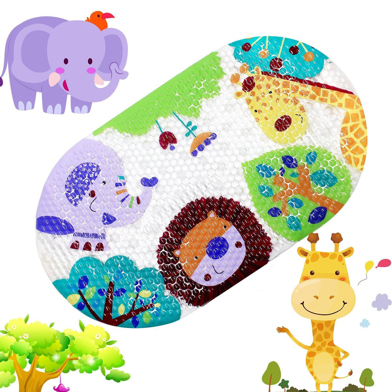 tappetino antiscivolo bambini tappeto tappetino per doccia con ventose luminoso fumetto stampato tappetino per vasca da bagno per bambini, 38,1 x 68,6 cm (colorato Zoo), PVC, Colorful Zoo, 15 x 27 inch RRunzfon