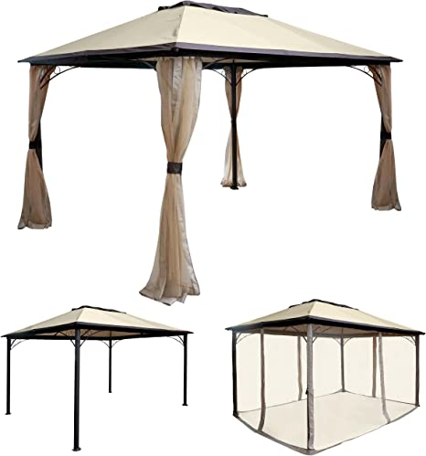 Pergola Merida, Cenador, estructura estable de 7 cm de aluminio con mosquitera, 4 x 3 m