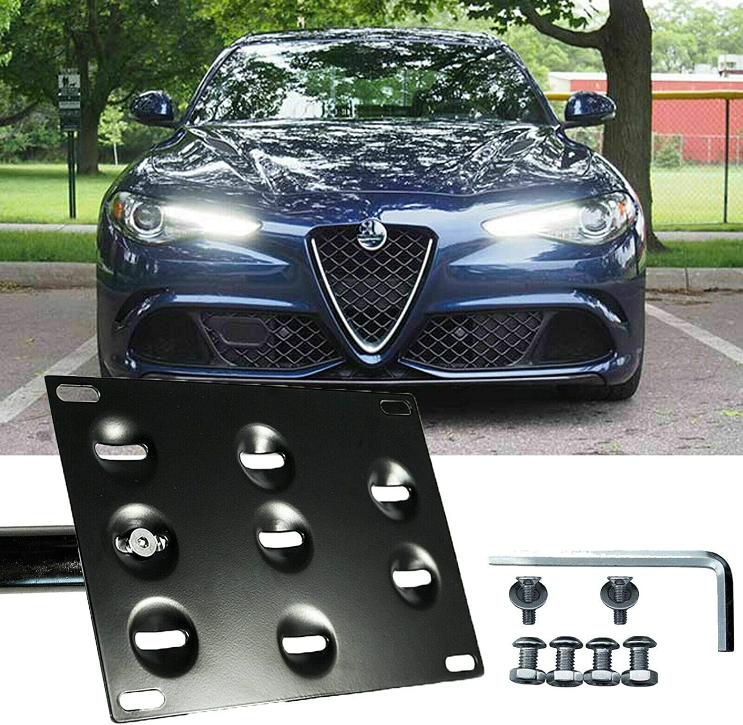 Xotic Tech for Alfa Romeo Stelvio 2018 2019 Front Bumper Tow Hook License Plate - No Drill Black Mounting Bracket Adapter Kit