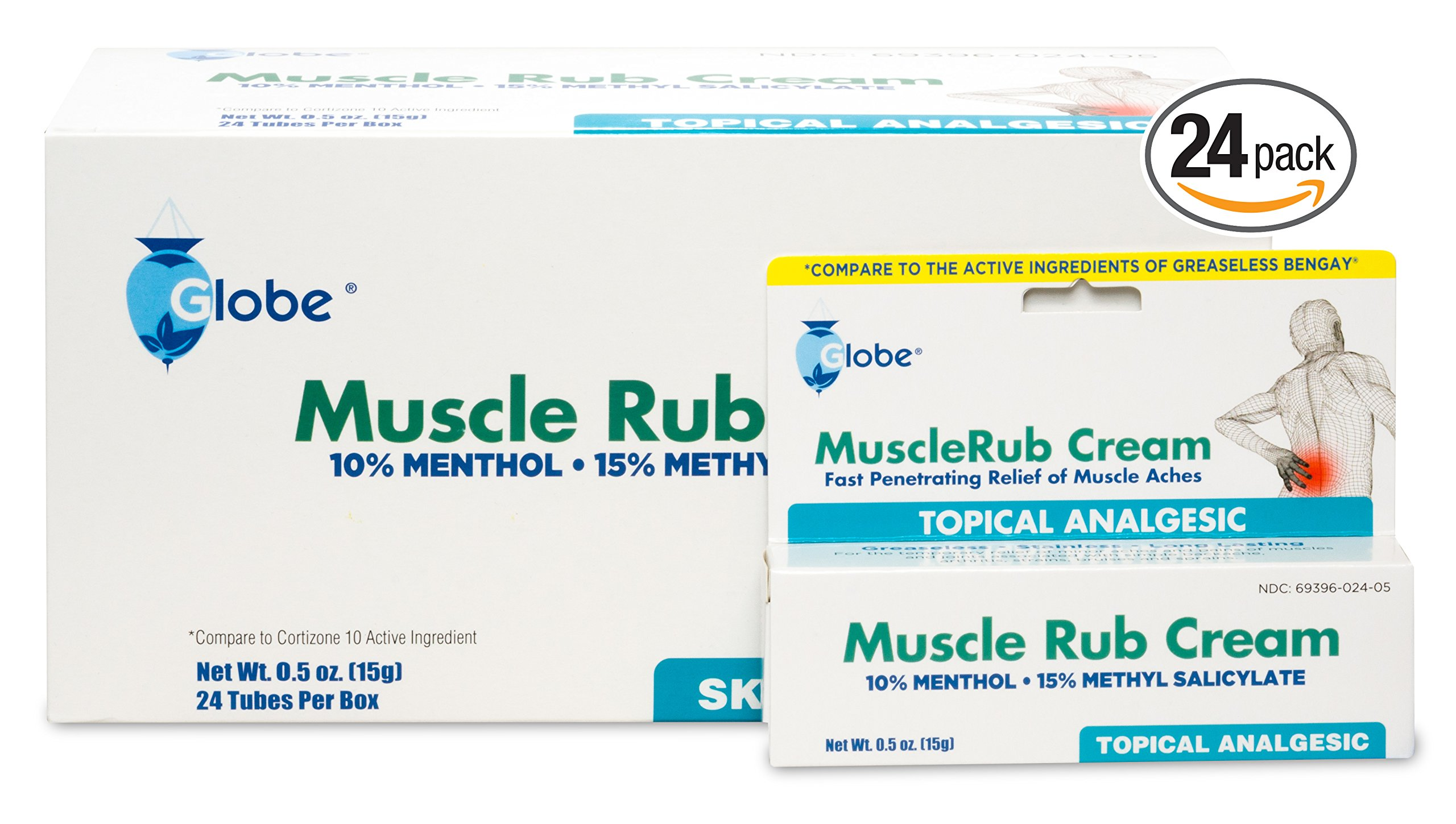Muscle Rub Cream 0.5 oz Tube (Compare to Bengay) (24 PACK) (TRAVEL SIZE)