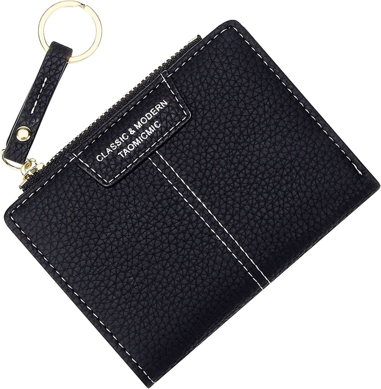 Small Compact Bifold Wallets for Women Girls Credit Card Holder Zipper Coin Purse