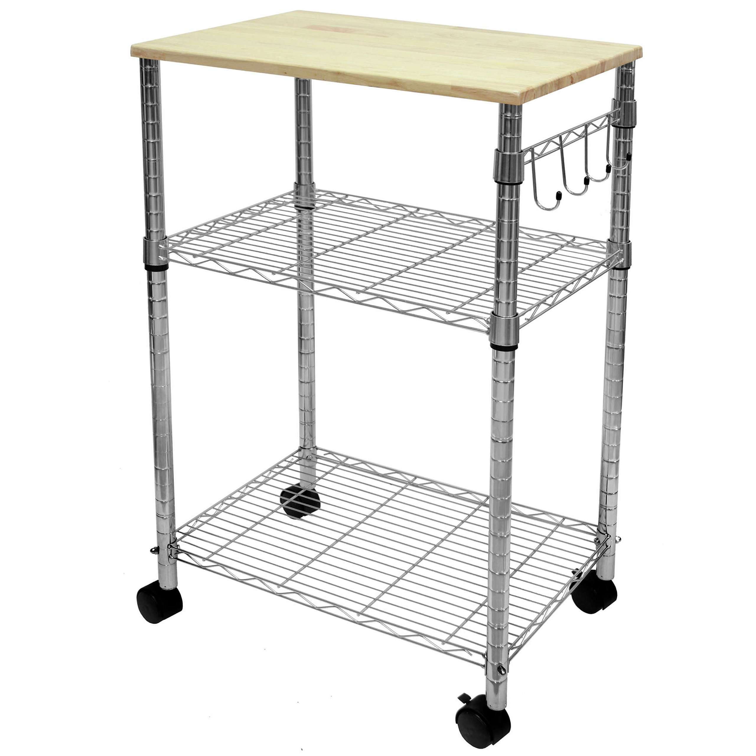 Mainstays Cart Sturdy Metal Sleek Design Wood Top Multi-Purpose Kitchen Cart, Chrome by Mainstay (Image #2)