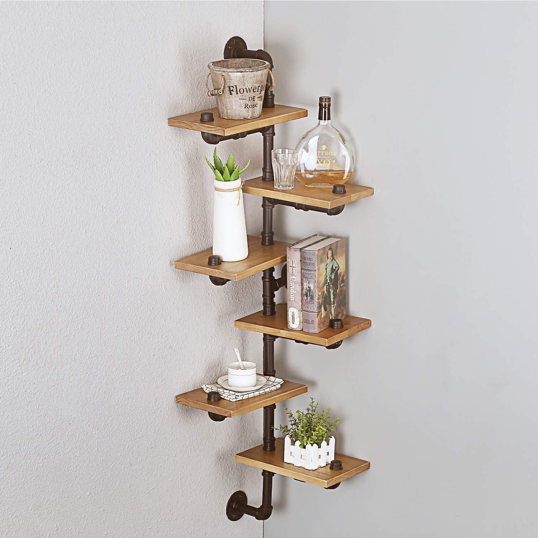 MBQQ Industrial Pipe Wall Mount 6-Tiers Bookshelf, Metal&Wood Corner Shelves,DIY Storage Shelving Rustic Floating Shelves,Home Decor Shelves by MBQQ