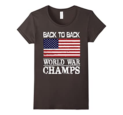 e70af7dc Women's Back to Back World War Champs USA T-Shirt - America T-Shirt Small  Asphalt: Amazon.co.uk: Clothing