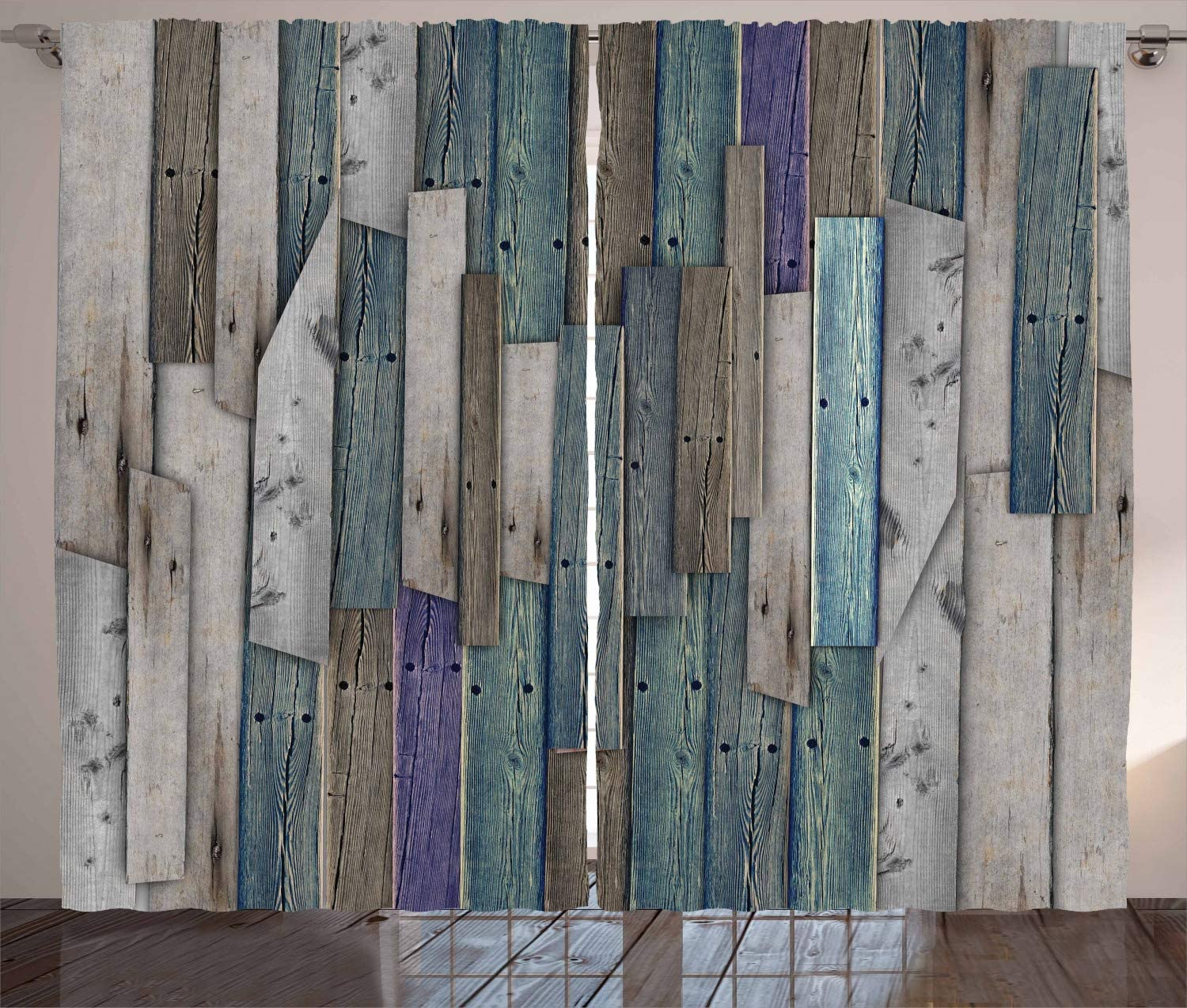 """Ambesonne Rustic Curtains, Image of Blue Grey Grunge Wood Planks Barn House Door Nails Country Life Theme Print, Living Room Bedroom Window Drapes 2 Panel Set, 108"""" X 63"""", Teal Purple"""