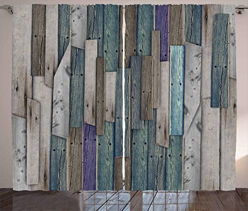 Ambesonne Rustic Curtains, Image of Blue Grey Grunge Wood Planks Barn House Door Nails Country Life Theme Print, Living Room Bedroom Window Drapes 2 Panel Set, 108 X 90 , Teal Purple
