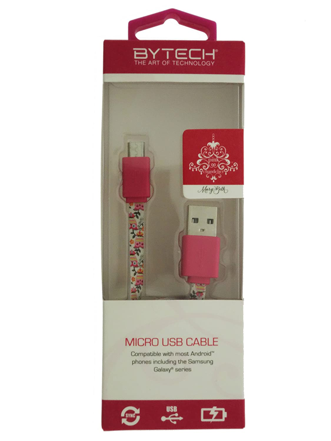 Com Pink Chandelier 3 5 Micro Usb Sync Charge Cable Abstract Owl Flower Print By Artist Mary Beth Freet Cell Phones Accessories