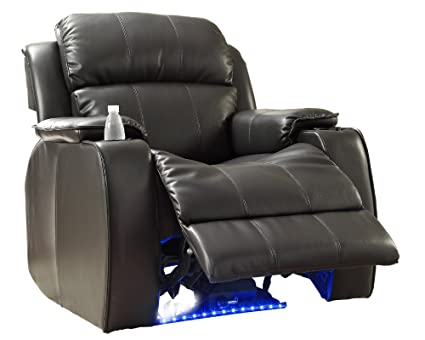 Homelegance 9745BLK 1 Jimmy Collection Upholstered Power Reclining Massage  Chair, Black Bonded Leather