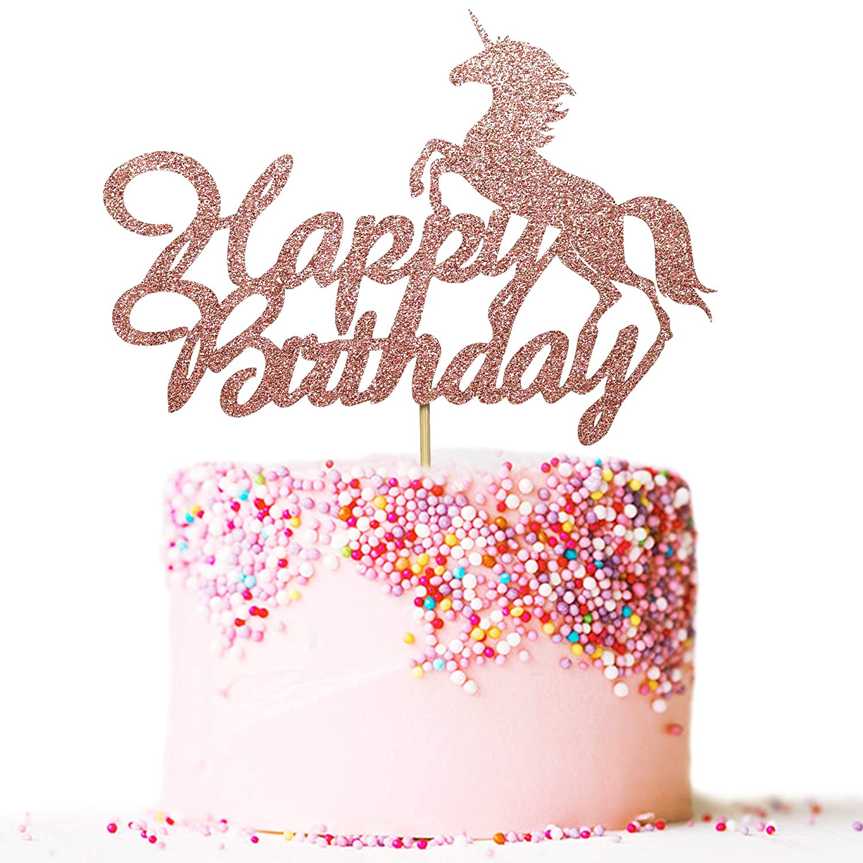 kids birthday party pink Unicorn cake topper Decorative cake age glitter gold name