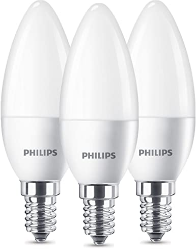 Philips 8718696761281 Pack de 3 bombillas LED Vela E14, 5.5 W, Blanco