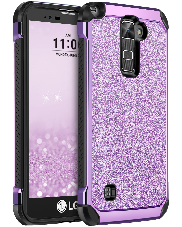 BENTOBEN LG Stylo 2 Plus Case, LG Stylo 2 Case, LG Stylo 2V Case, Glitter Bling Shiny Super Slim Hard PC Laminated with Sparkly Faux Leather Shockproof Protective Phone Cover, Purple