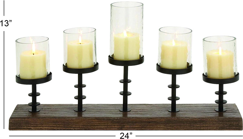 Amazon Com Deco 79 Wood Metal Candelabra With 5 Glass Votive 24 By 13 Inch Walnut Brown Black Home Kitchen