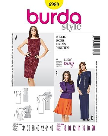 Burda B6988 Schnittmuster Kleid 19 x 13 cm: Amazon.de: Küche & Haushalt