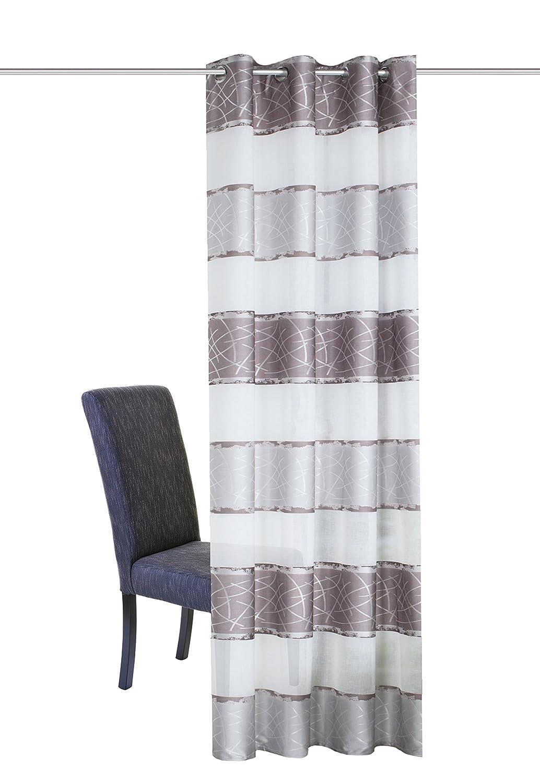 Home Fashion /ÖSENSCHAL DEKOSTOFF QUERSTREIFEN mit JACQUARDMUSTERUNG Polyester Grau 225 x 140 cm