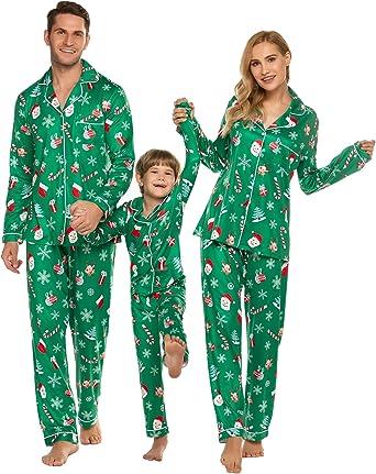 ADOME Pijama de Navidad, Ropa Familiar, Camisa, Pijama y Pantalones, Juego con Estampado de Osos Polares para niños, jóvenes, niñas, Hombre, Mujer