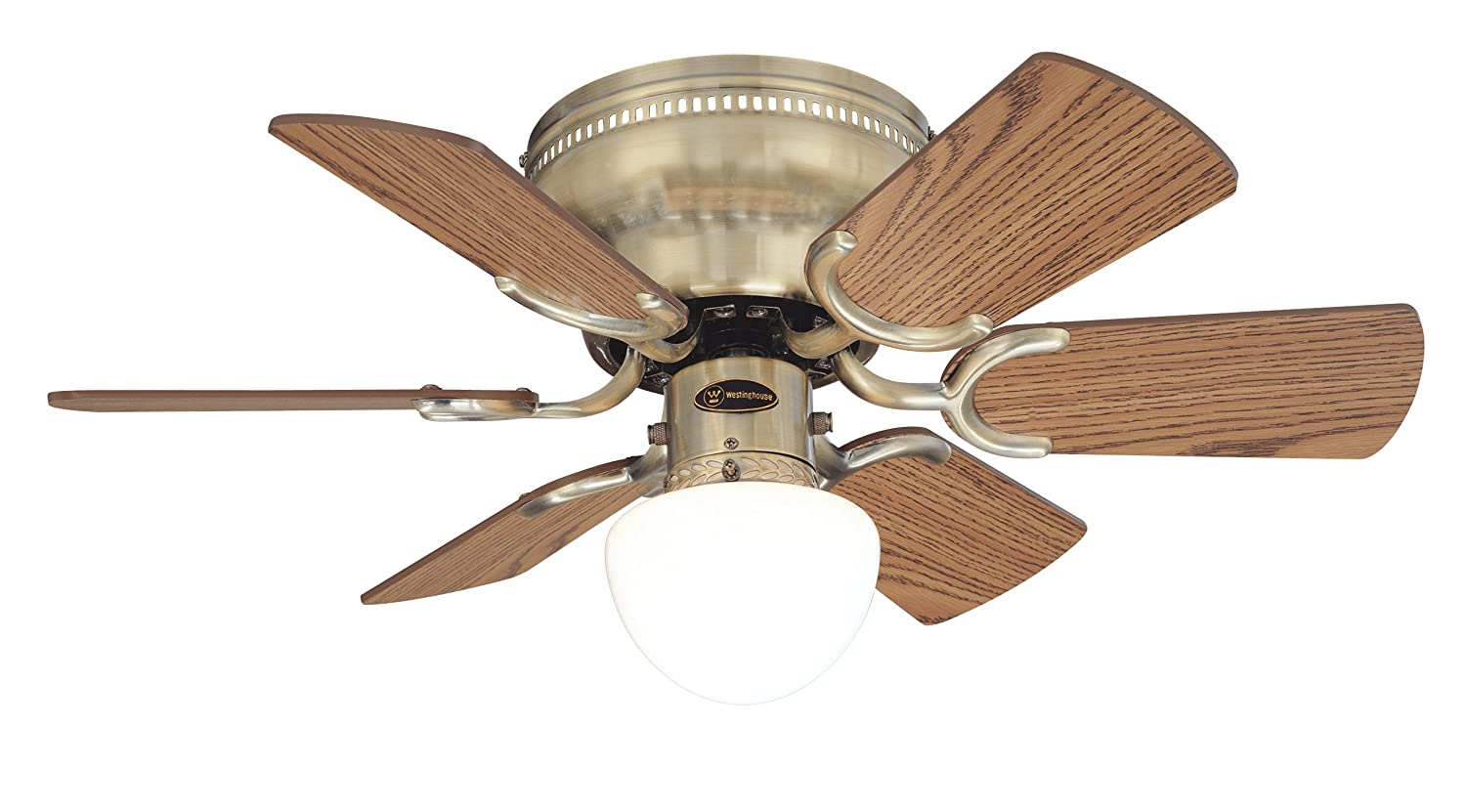 Westinghouse 78603 Petite 6 Blade 30 Inch 3 Speed Hugger Style Ceiling Fan  With Light, Antique Brass     Amazon.com
