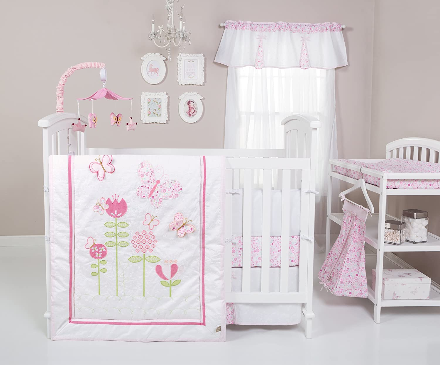 Trend Lab Floral Fun 6 Piece Crib Bedding Set, White/Pink 102364