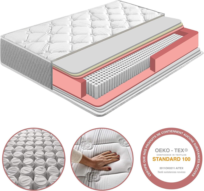 Firmeza Medio-Alta Reversible Independencia de lechos Alta Durabilidad Colch/ón Soft Confort 120x190 cm de Muelle Ensacado 22 cm de Altura