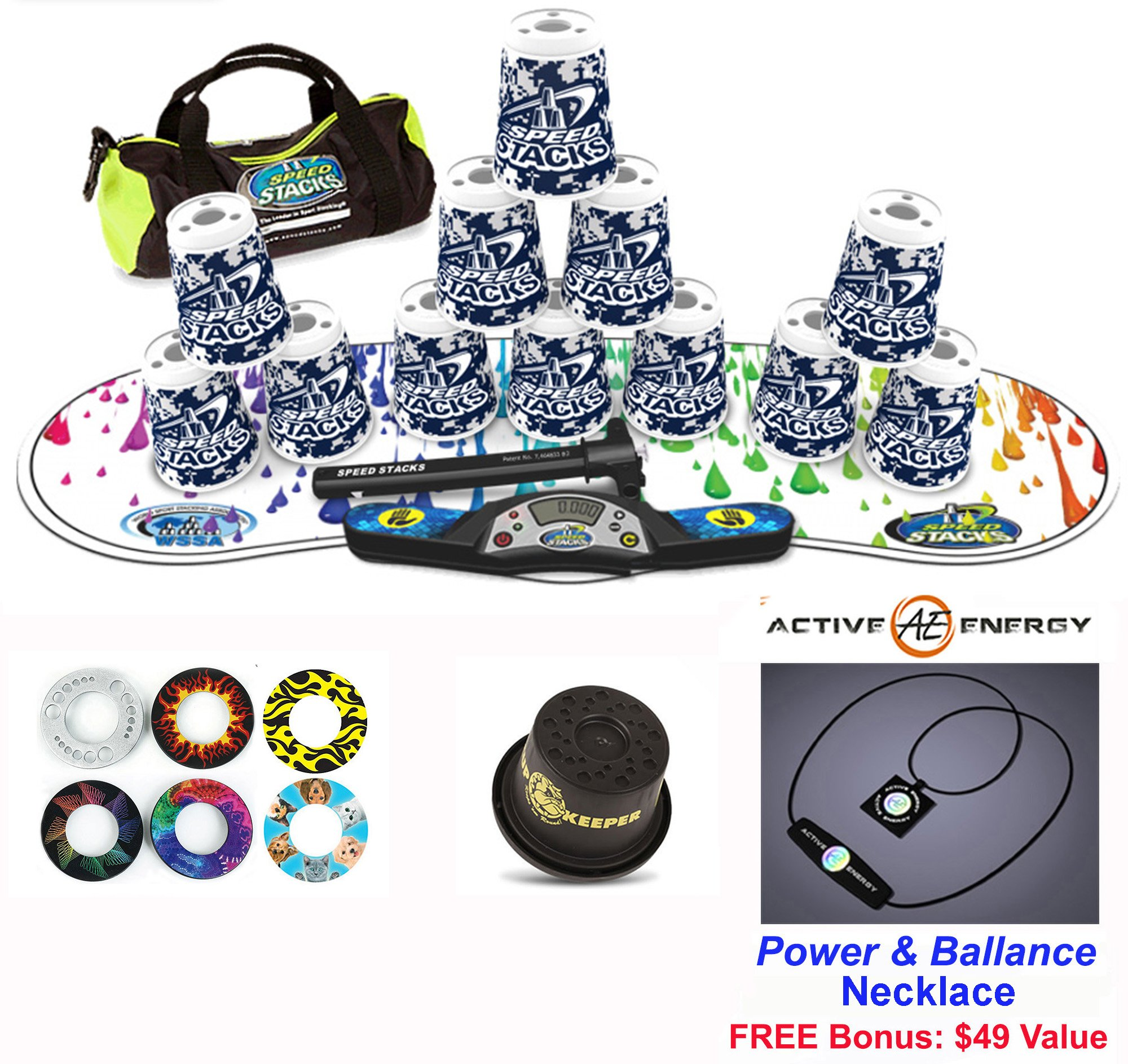 Speed Stacks Combo Set ''The Works'': 12 DIGITAL CAMO 4'' Cups, RAINBOW DROP Gen 3 Mat, G4 Pro Timer, Cup Keeper, Stem, Gear Bag + Active Energy Necklace by Speed Stacks
