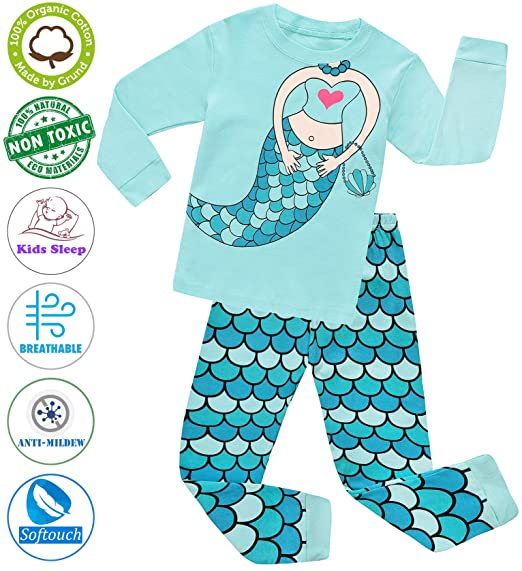 c58c4b50d4 Amazon.com  Girls Pajamas Clothes Sleepwear 100% Cotton PJS for Toddlers  Kids Children Mermaid Style  Clothing