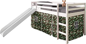 Donco Kids Low Loft Bed with Slide with Tent Light Espresso//Camo Twin
