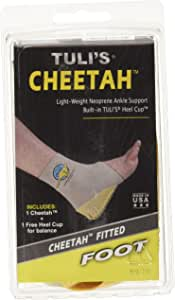 Tuli's Cheetah Heel Cup with Compression Ankle Support Sleeve, Foot Protection for Gymnasts and Dancers, Lightweight, Fitted Medium
