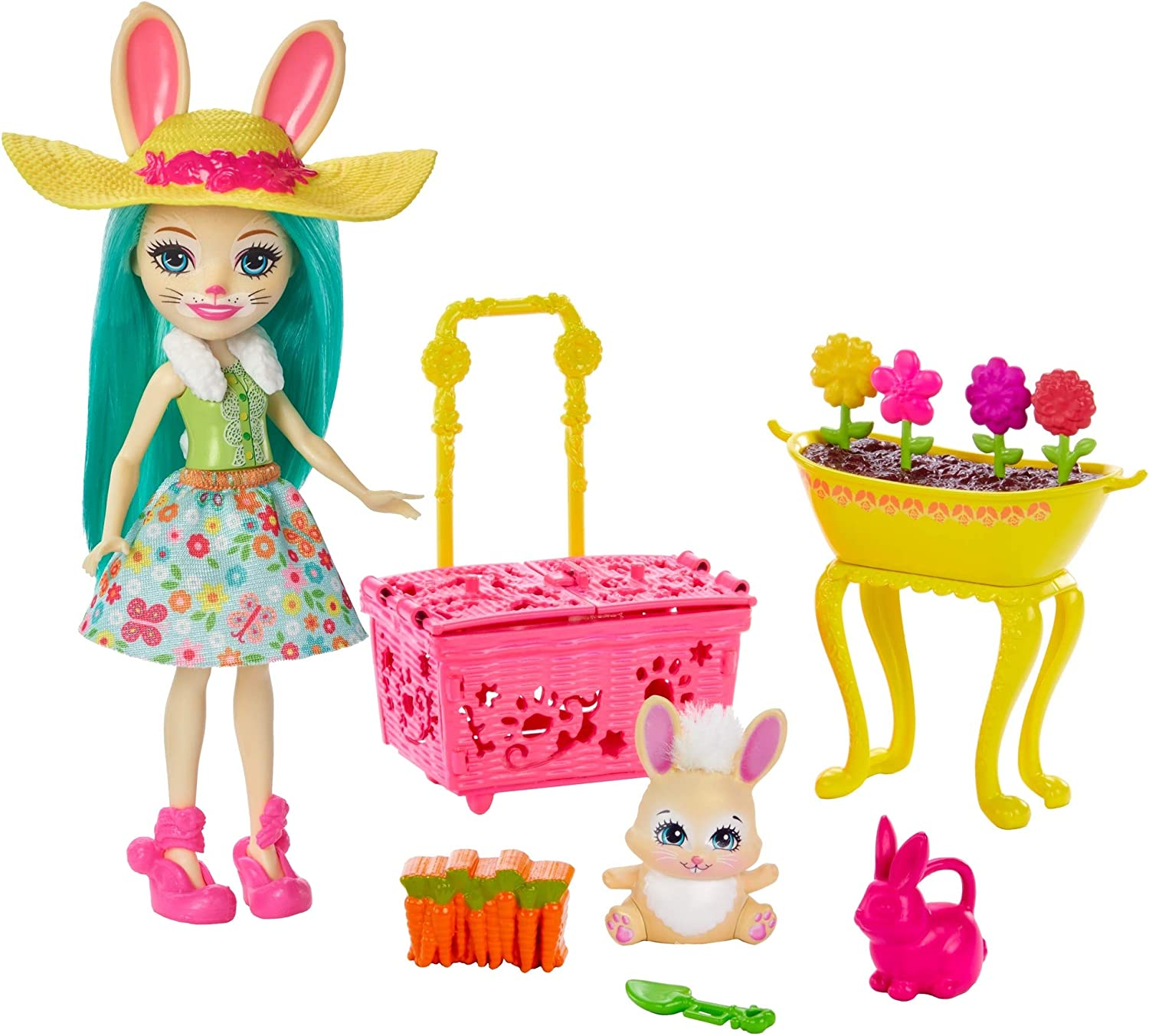 Enchantimals Bunny Blooms Playset with Fluffy Bunny Doll (6-in), Mop Animal Friend Figure, and 11+ Accessories