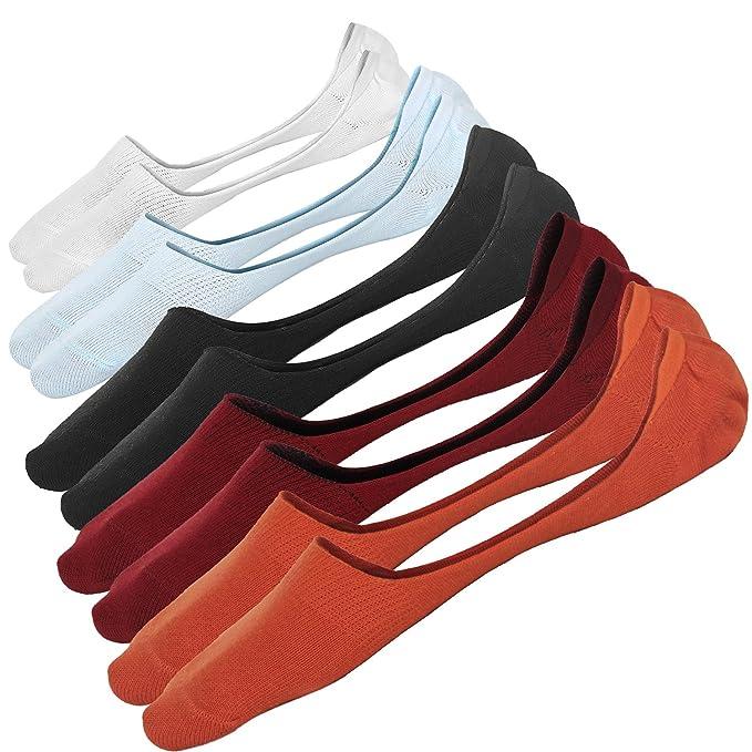 Ueither Calcetines Cortos Transpirable Calcetines Invisibles Hombre Sneaker de Deporte Algodón No Show Antideslizante Calcetínes del Tobillo (38-44, ...