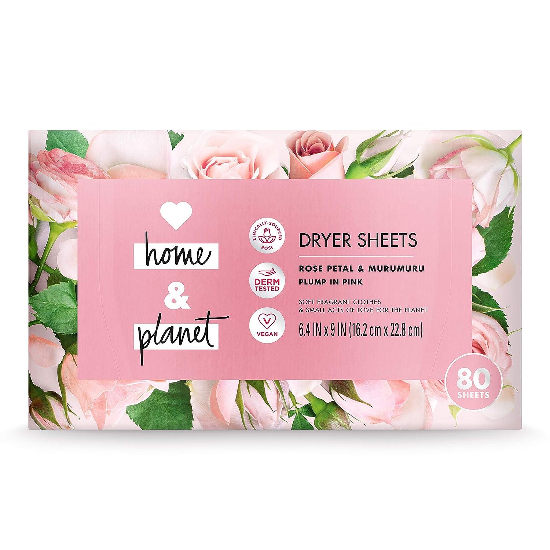 Love Home and Planet Dryer Sheets, Rose Petal & Murumuru, 80 count
