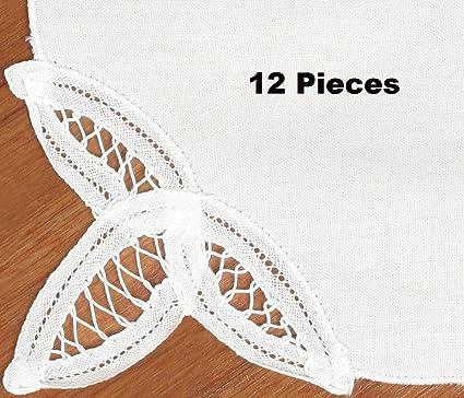 amazon com creative linens 12pcs battenburg lace napkins white set