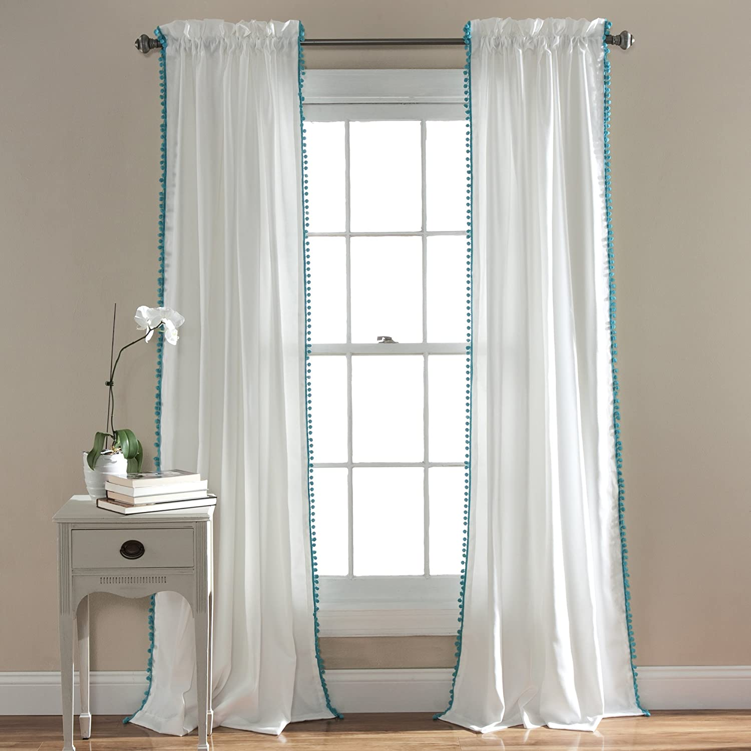 Back gt gallery for gt real open stage curtains - Amazon Com Lush Decor Pom Pom Window Curtain Panel 84 X 50 Aqua Home Kitchen
