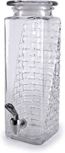 Circleware Tall Square Mason Jar Glass Beverage Dispenser with Lid, Fun Party Entertainment Kitchen Glassware Water Pitcher for, Juice, Beer, Punch, Iced Tea & Cold Drinks, 2.5 Quarts, Brick Design