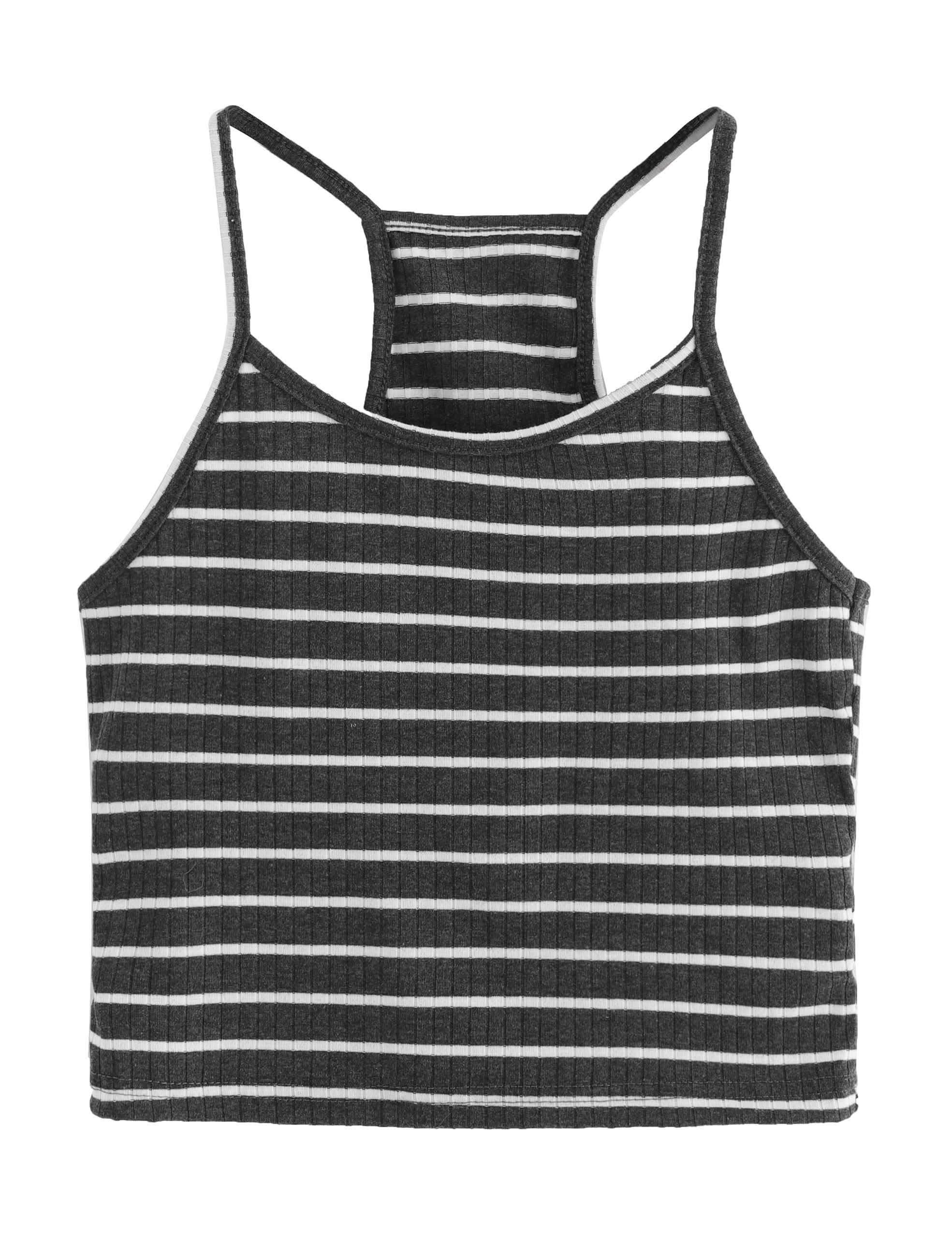 SheIn Women's Summer Basic Sexy Strappy Sleeveless Racerback Crop Top X-Small Dark Grey#1#1