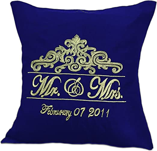 Amazon Com The White Petals Mr Mrs Monogram Pillow Cover With Gold Embroidery And Wedding Date 16x16 Navy Blue Home Kitchen