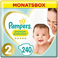 Pampers Premium Protection New Baby, Gr. 2, 4-8 kg, Monatsbox, 1er Pack (1 x 240 Stück)