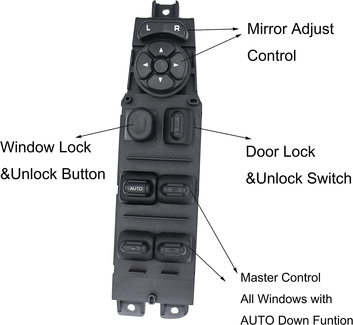Fit for 2001-2003 Durango 56049805AB Master Power Window Switch /& Bezel Driver Side Fit for 2002-2010 Dodge Ram 1500 2500 3500,Fit for 2001-2004 Dakota for 2005-2009 Sprinter 2500 3500