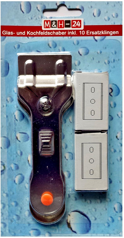 M/&H-24 Grattoir pour plaque vitroc/éramique racloir /à verre 10 lames de rechange grattoir de nettoyage