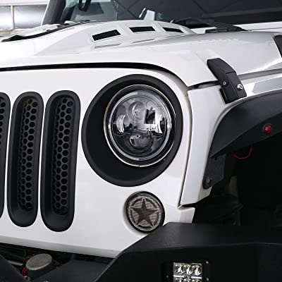u-Box Jeep JK Headlight Bezel Trim Cover, Matte Black Headlight Insert for 2007-2015 Jeep Wrangler & Wrangler Unlimited: Automotive