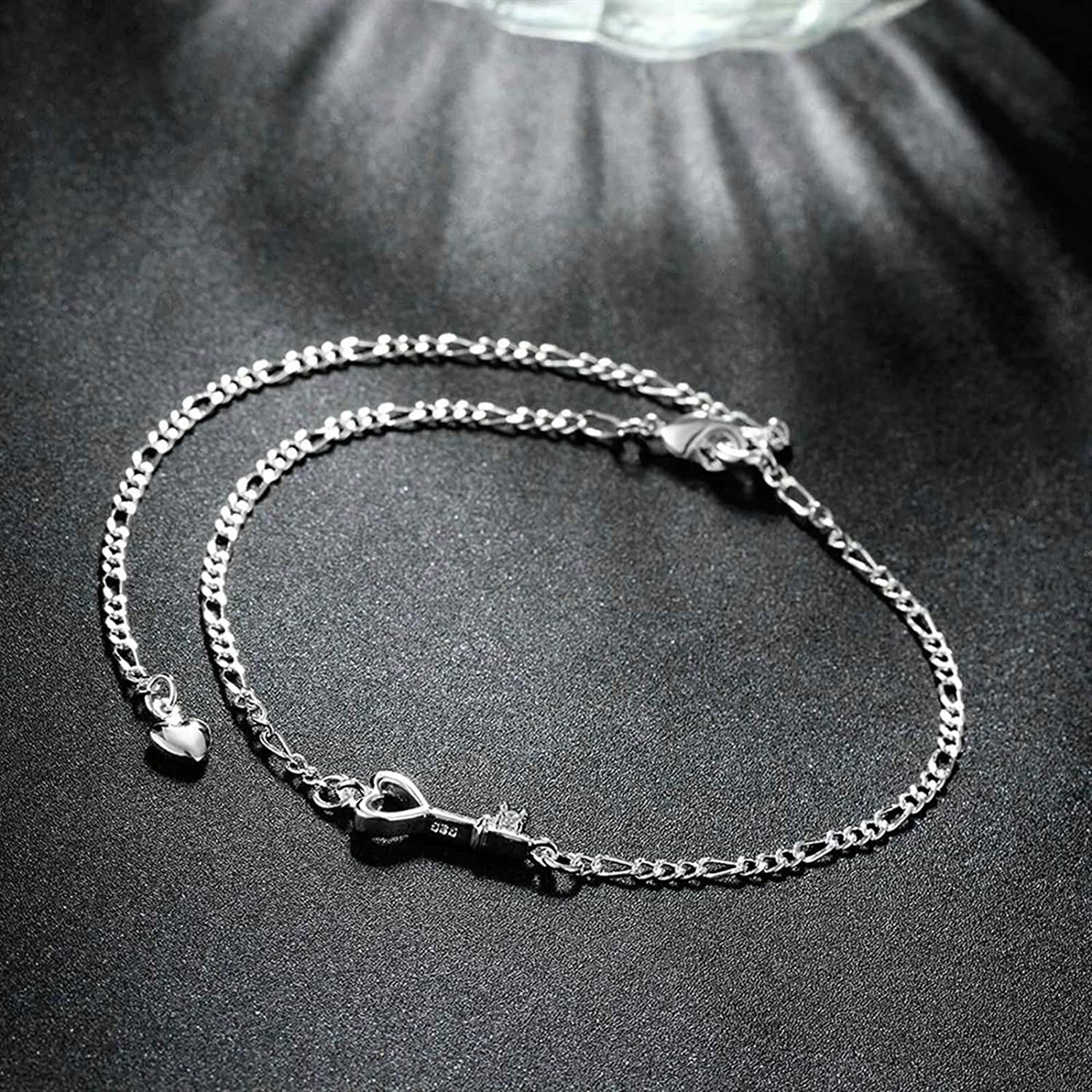 Aooaz Jewelry Anklets for Women Teens Hollow Heart Key Beach Jewelry Bohemian Anklet Silver