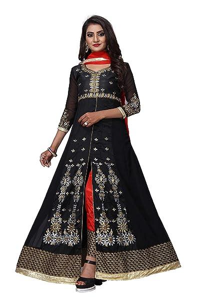fc375fadb56c V.K.Creation Women's Faux Georgette Embroidered Semi-Stitched Anarkali  Salwar Suit (Black, Free