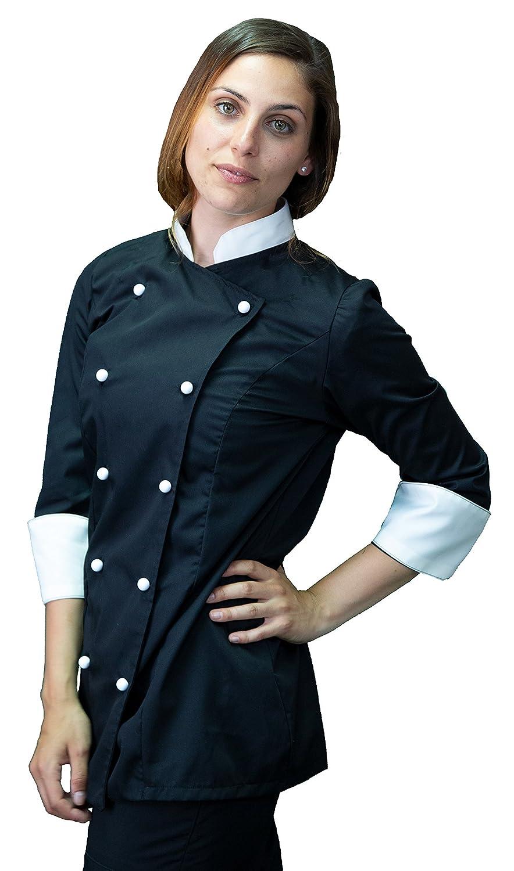 tessile astorino RICAMO GRATUITO Made in Italy casacca cuoco chef manica corta giacca Donna bianca e nera