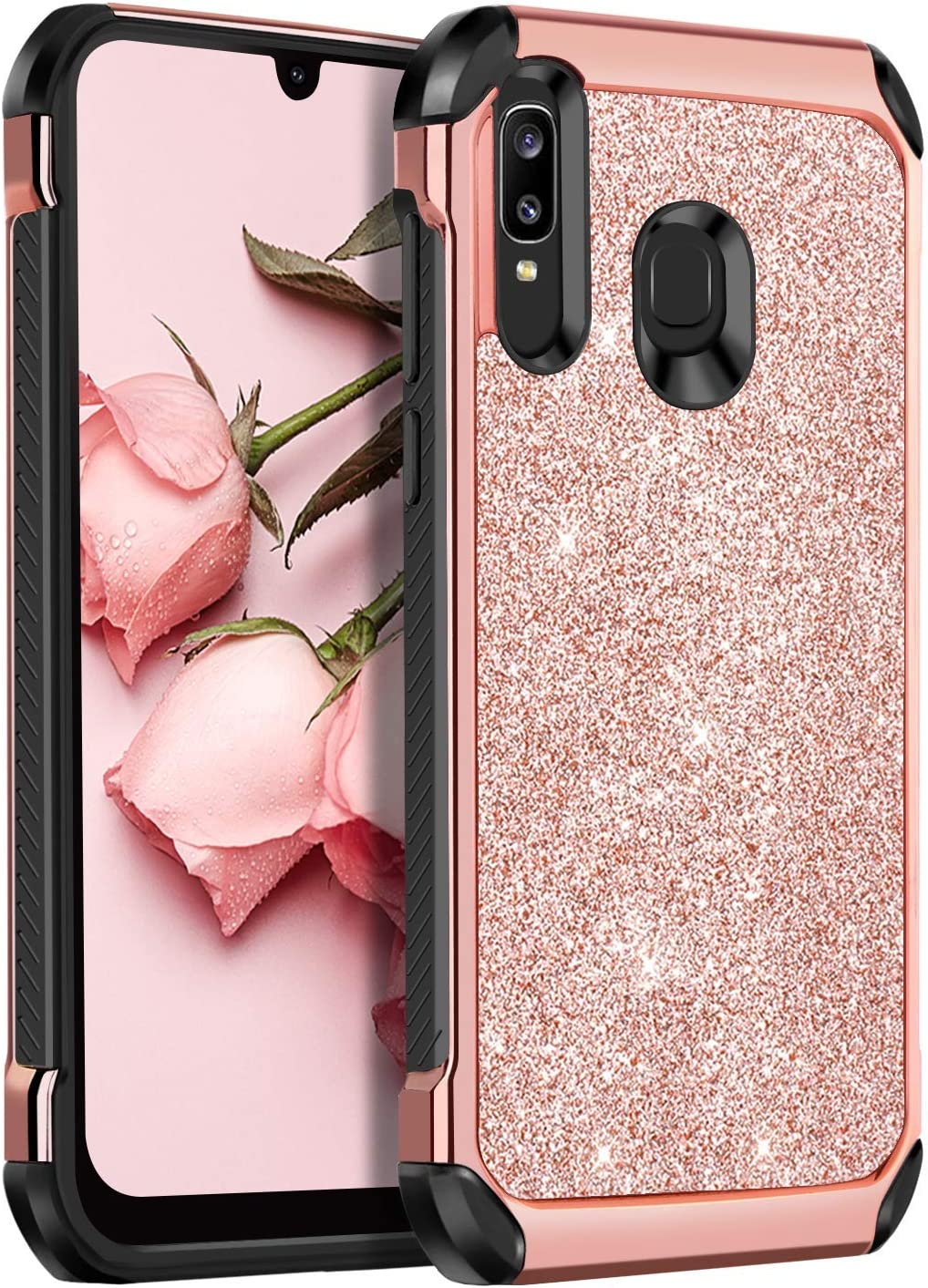 BENTOBEN Samsung Galaxy A50/A30/A20 Case, 2 in 1 Slim Hybrid Glitter Sparkle Bling Hard Cover Soft Rubber Bumper Girls Rugged Shockproof Protective Phone Case for Samsung Galaxy A50/A30/A20 Rose Gold