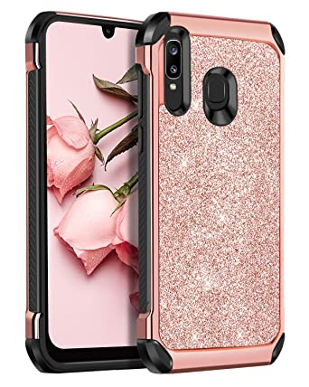 BENTOBEN Samsung Galaxy A50/A30/A20 Case, 2 in 1 Slim Hybrid Glitter Sparkle Bling Hard Cover Soft Rubber Bumper Girls Rugged Shockproof Protective ...