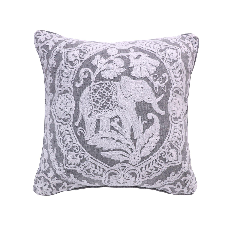 Levtex Avalon Spa Towel Stitch Elephant Pillow, Grey,White, Animal