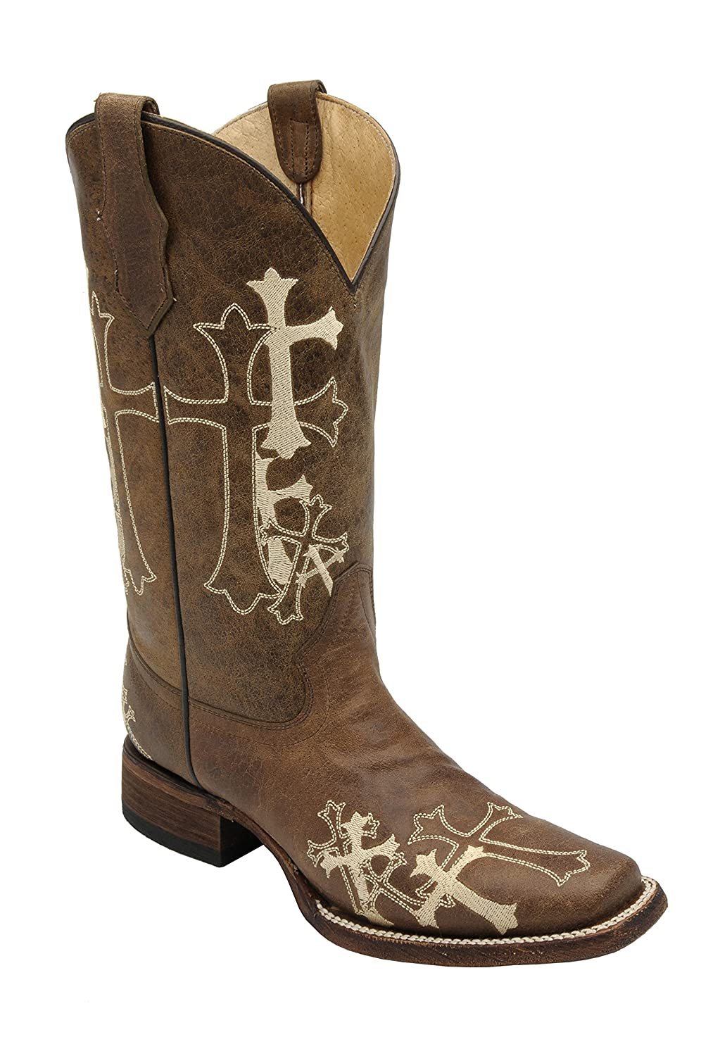 Corral Women's Circle G Side Cross Embroidered Square Toe Western Boot B00DZ4PMJ2 9 B(M) US|Brown
