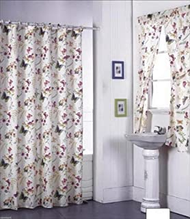 Butterfly Design Shower Curtain And Window Set W Liner Rings NEW