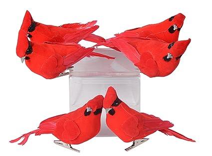 set of 6 red cardinal birds christmas ornaments with clips - Bird Christmas Ornaments