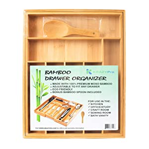 Bamboo Drawer Organizer Expandable Premium 100% Moso Bamboo BONUS SPOON - Multi-purpose Kitchen, Bath Vanity, Office, Crafts - 7 to 9 compartments for silverware, utensils, cutlery, makeup, gadgets