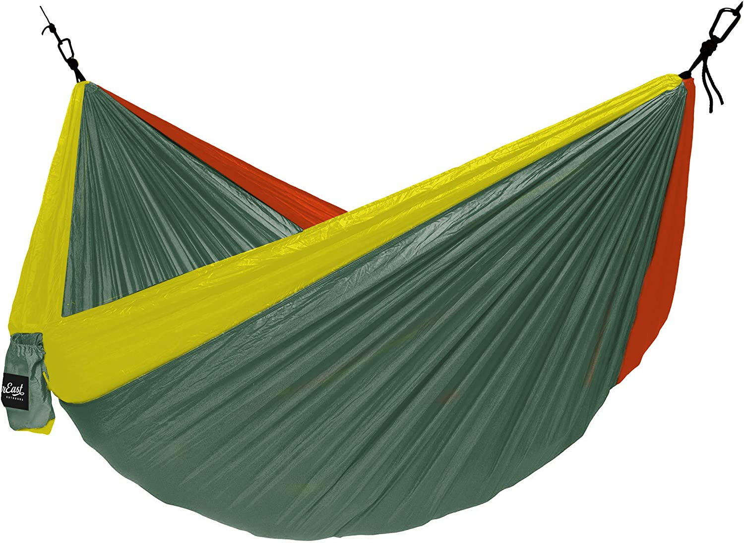Ultra Lightweight Nylon Camping Hammock NorEast Outdoors Single Hammock Portable Easy to Set Up Paracord and Carabiner Hanging System